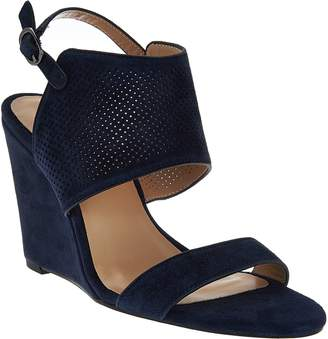Halston H By H by High Wedge Suede Sandals - McKenzie