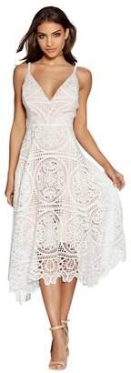 Quiz Cream And Nude Crochet V-Neck Dress