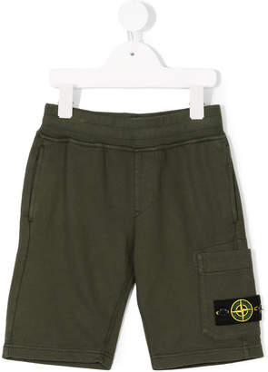 Stone Island Junior logo patch track shorts