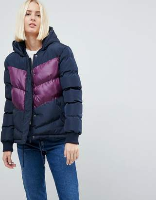 Brave Soul Marsell Retro Color Block Padded Coat