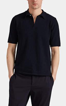 Eleventy Men's Cotton-Blend Bouclé Polo Shirt - Navy