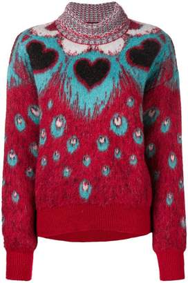 Just Cavalli heart intarsia turtleneck sweater