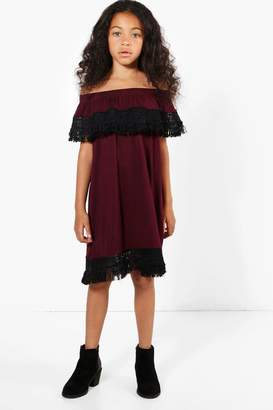 boohoo Girls Lace Trim Bardot Dress