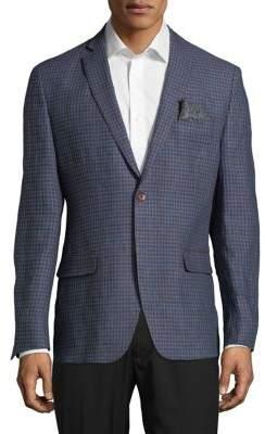 Tallia Orange Plaid Linen Jacket