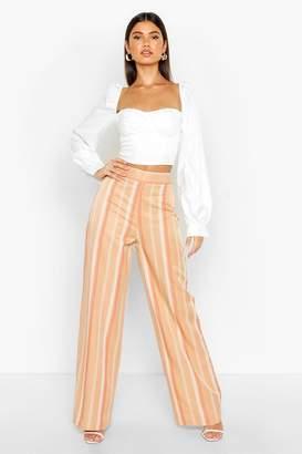 boohoo Tonal Stripe Wide Leg Woven Trousers