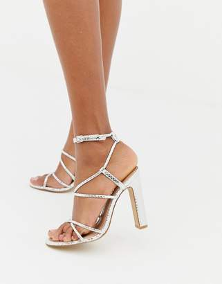 Office Heaven silver snake strappy heeled sandals