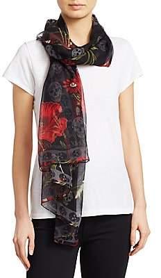 Alexander McQueen Women's Poppy Field Skull Silk Scarf