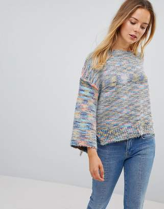 Lavand Smudge Knit Short Sleeve Sweater