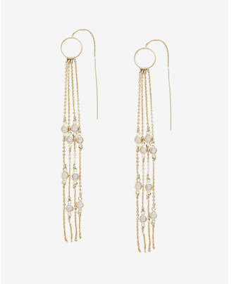 Express Linear Fringe Pull Through Drop Earrings $22.90 thestylecure.com