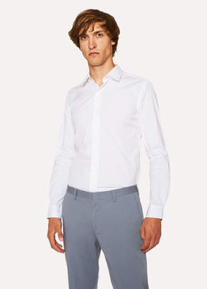 Paul Smith Men's Super Slim-Fit White Shirt With 'Artist Stripe' Cuffs