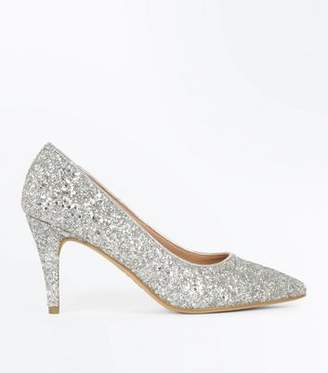New Look Wide Fit Silver Glitter Pointed Wedding Courts