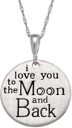 FINE JEWELRY Personalized Sterling Silver I Love You To The Moon & Back Engravable Circle Pendant Necklace