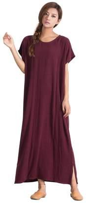 Sellse Women's Linen Loose Maxi Bridesmaid Large Size Plus Size Dress Cotton Clothing