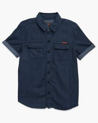 7 For All Mankind Kids Boys 4-7 Short Sleeve Shirt In Textured Indigo