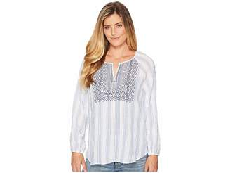 Vince Camuto Long Sleeve Stripe Pucker Peasant Blouse with Embroidered Bib Women's Blouse