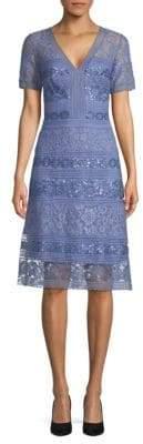 Tadashi Shoji Floral Sequin A-Line Dress