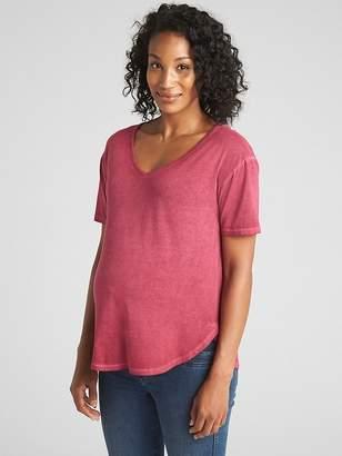 Gap Maternity Short Sleeve Vintage-Wash V-Neck T-Shirt