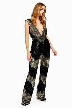 7ab8554633 Black Sequin Jumpsuit - ShopStyle