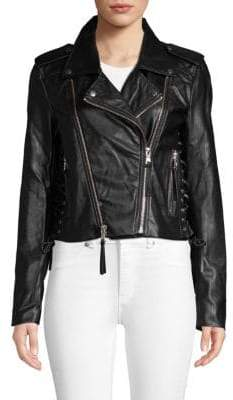Bagatelle Lace-Up Faux Leather Moto Jacket
