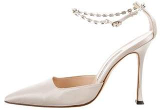 Manolo Blahnik Satin Pointed-Toe Pumps
