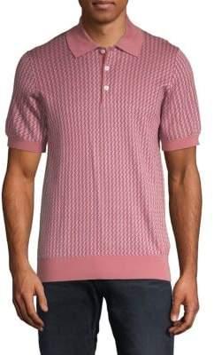 Brioni Novelty Knit Wool & Silk Polo Shirt