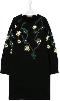 Marni TEEN floral embroidered sweatshirt dress