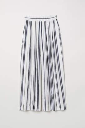 H&M Wide-cut Linen-blend Pants - Blue