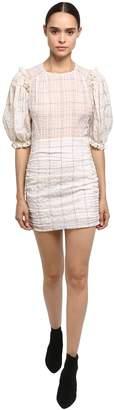 Isabel Marant Organza Mini Dress W/ Balloon Sleeves