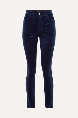 J Brand Maria Cotton-blend Velvet Skinny Pants - Midnight blue