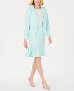Le Suit Three-Button Flared Skirt Suit