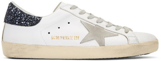Golden Goose SSENSE Exclusive White & Navy Superstar Sneakers $495 thestylecure.com