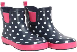 Board Angels Junior Girls Polka Dot Print Short Wellington Boots Navy/Pink