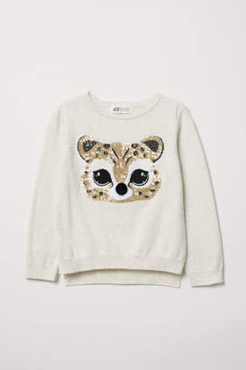 H&M Sweater with Sequined Motif - White
