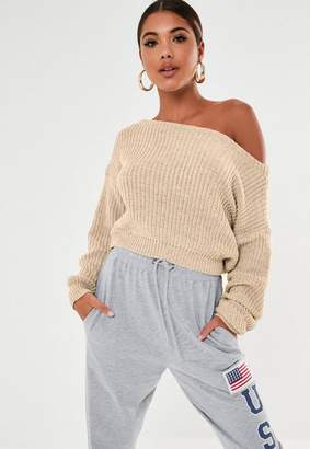 Missguided Nude Crop Off Shoulder Knit Sweater