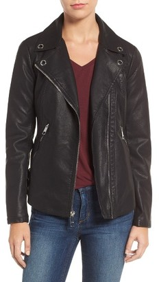 Women's Guess Faux Leather Moto Jacket $128 thestylecure.com