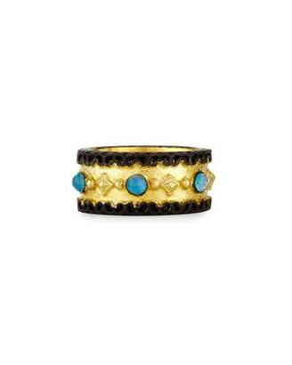 Armenta Old World Wide Band Ring with Neon Apatite & White Quartz, Size 7