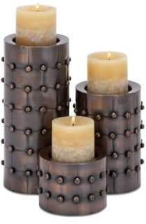 Iron Rivet Head Textured Cylinder Pillar Candle Holders- Set of 3