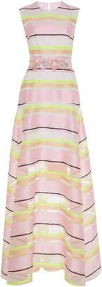 DELPOZO Embellished Striped Organza Gown