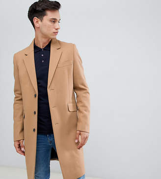 Asos DESIGN Tall wool mix overcoat in camel
