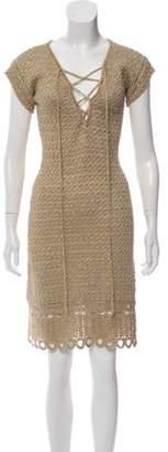 Prada Crochet Knee-Length Dress Gold Crochet Knee-Length Dress