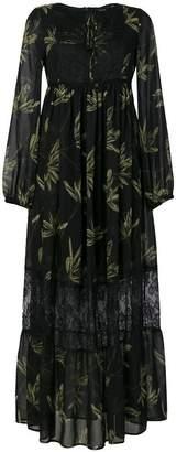 Ki6 leaf print empire dress