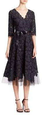 Teri Jon by Rickie Freeman Embroidered Lace& Tulle Flare Dress
