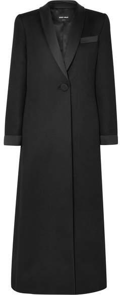 Silk-satin Trimmed Cashmere Tuxedo Jacket - Black