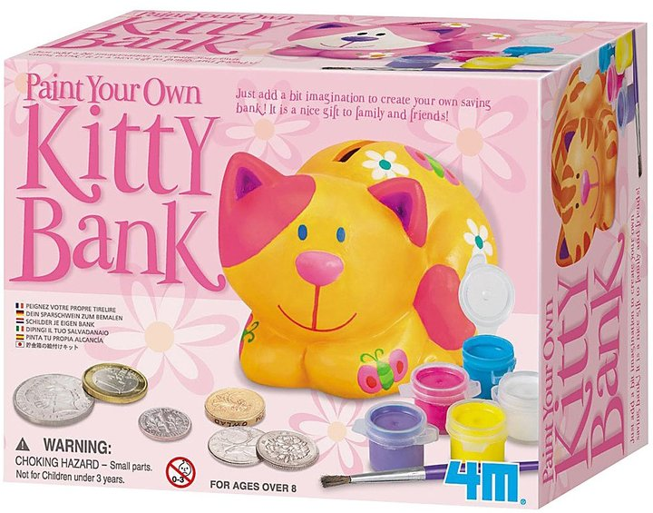 Toysmith 4M Paint Your Own Kitty Bank
