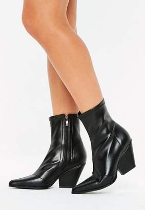 Missguided Curved Heel Western Boots