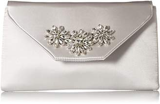 Jessica McClintock Riley Satin Envelope Evening Clutch with Brooch