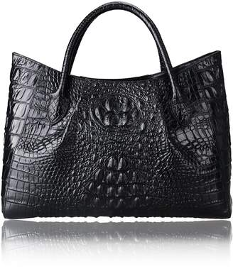 Pijushi 22198 Ladies Embossed Crocodile Anywhere Convertible Leather Tote Bag Designer Top-handle Handbags