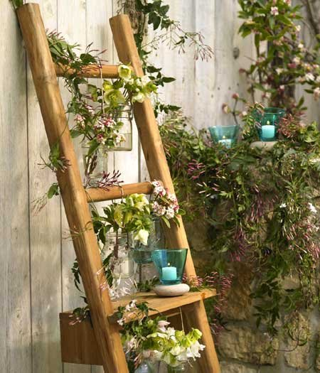 Teak Ladder with Shelf