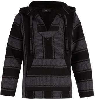 Alanui - Baja Striped Cashmere Hooded Sweater - Mens - Black Grey