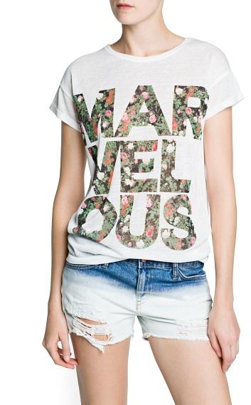 MANGO Floral typographic print t-shirt